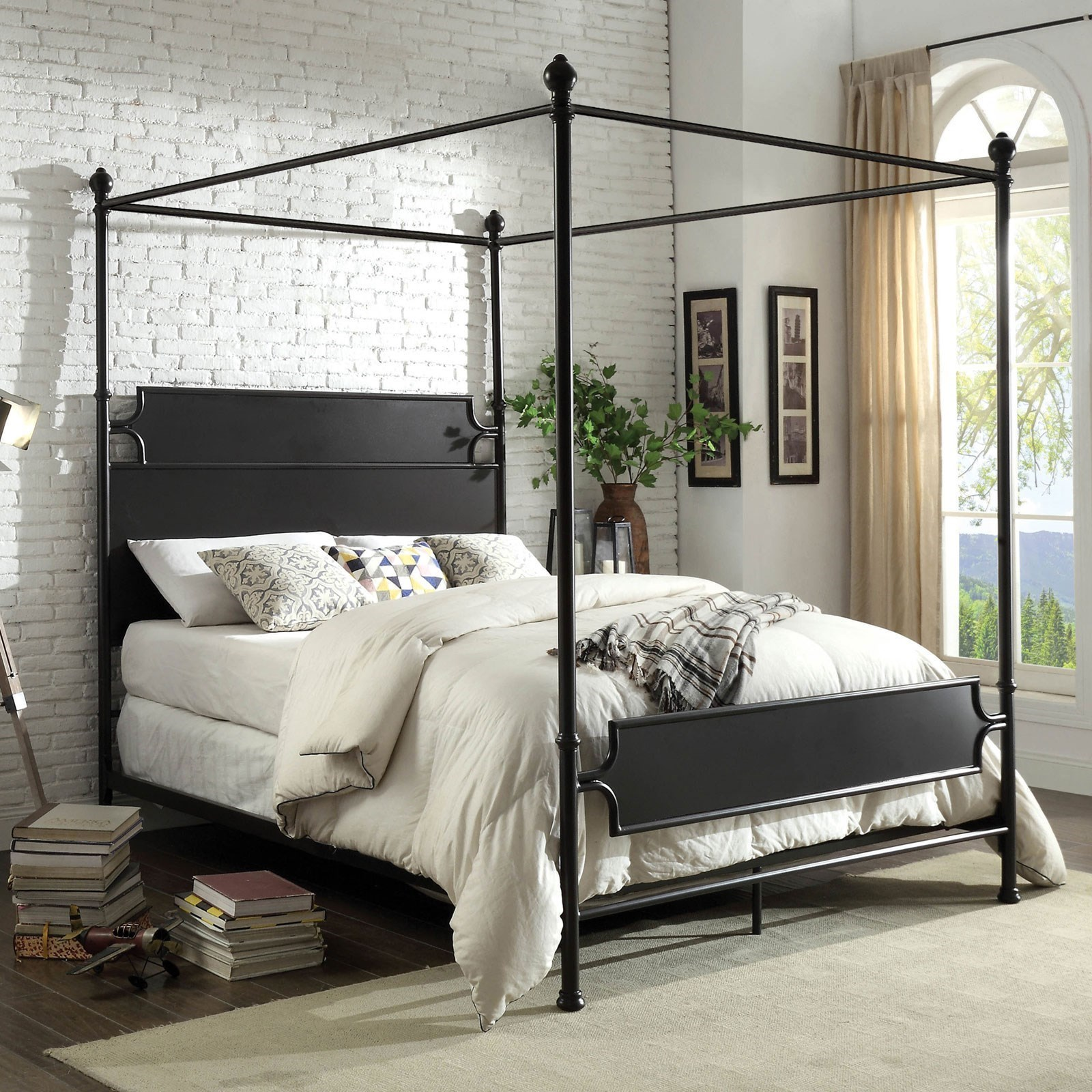 - Beatrix Transitional Queen Canopy Bed Household Furniture