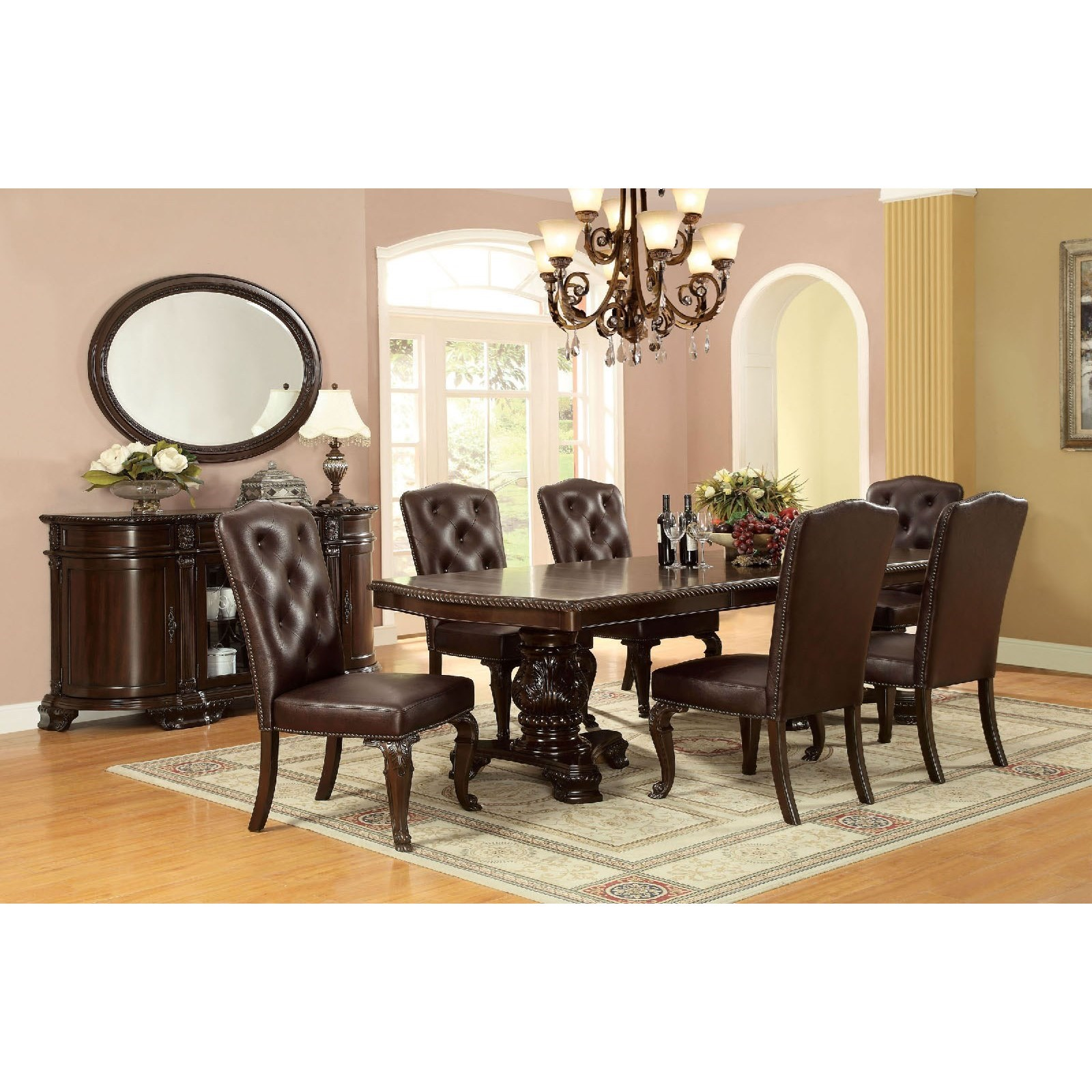 Furniture Of America Bellagio Dining Table Set With Six Chairs