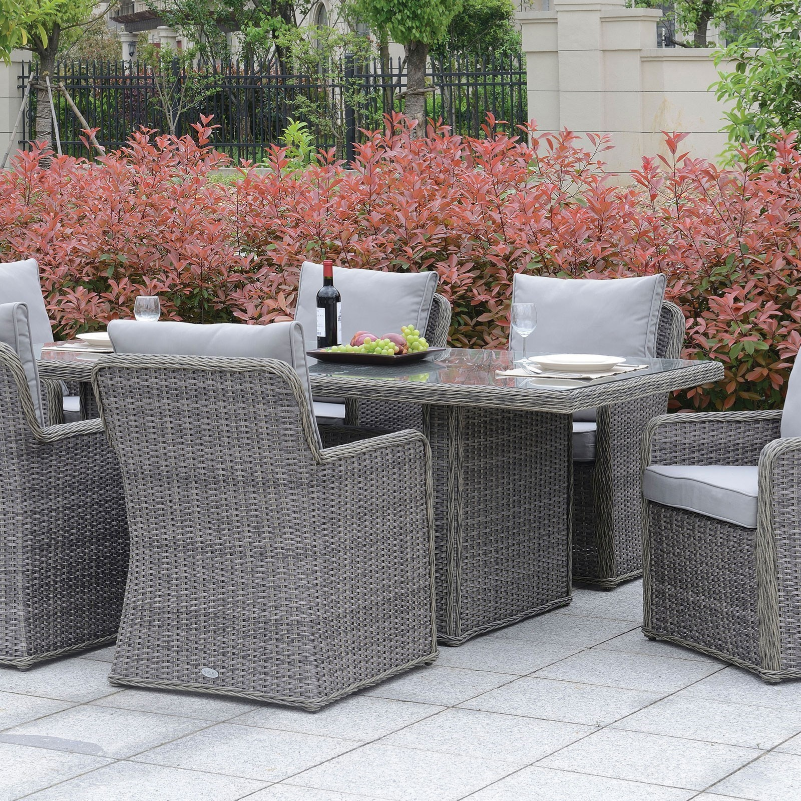 Furniture Of America Bowdon Cm Ot2221 T Gray Outdoor All Weather Wicker Dining Table With Tempered Glass Top Corner Furniture Outdoor Dining Table