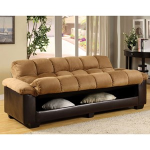 Brantford Convertible Microfiber Sofa Bed With Under Seat Storage By Furniture Of America At Dream Home Interiors