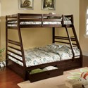 Furniture of America California III Twin-over-Full Bunk Bed with 2 Drawers - Item Number: CM-BK588EX-BED