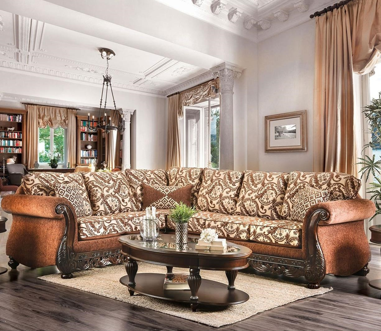 America cassandra traditional two tone sectional sofa with ornate carved wood trim