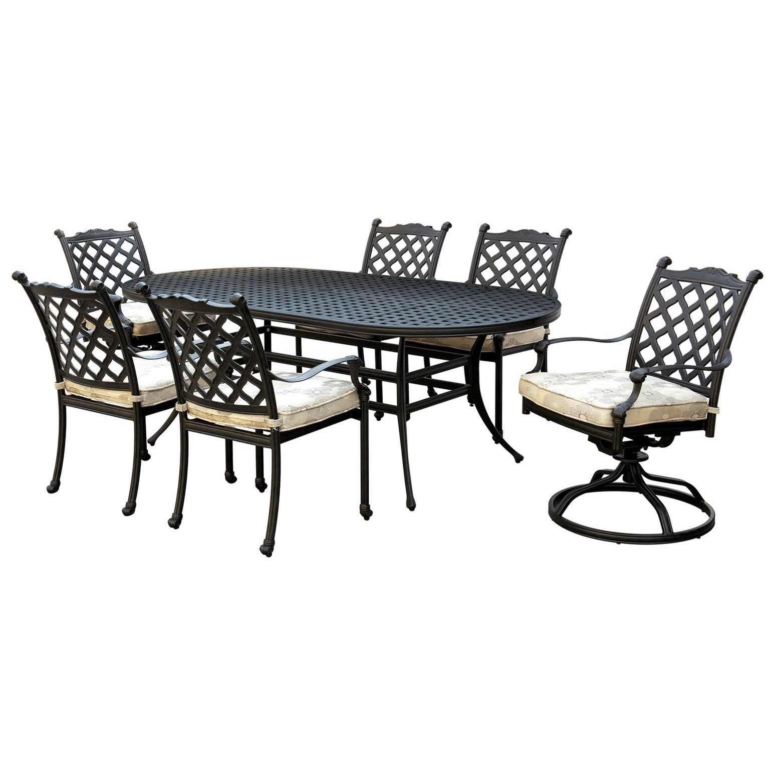 Furniture Of America Foa Chiara I Cm Ot2303 7pc Fabric Traditional Seven Piece Outdoor Dining Set With Cushioned Chairs Del Sol Furniture Outdoor Conversation Sets Outdoor Chat Sets