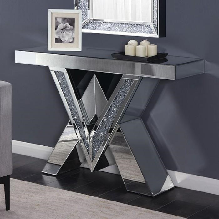 Chiara Crystal Accent Console Table By Furniture Of America