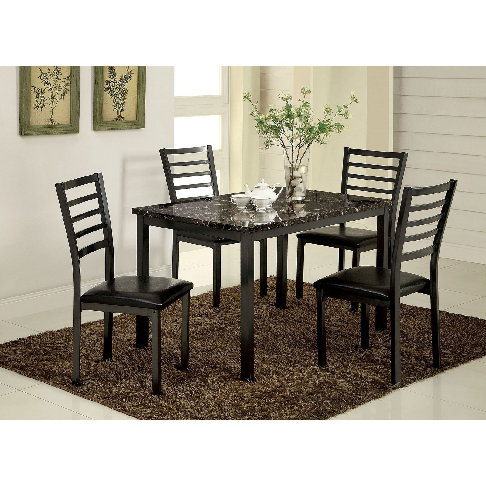 Furniture Of America Foa Colman Cm3615t 48 5pc Kd Dining Set With Four Chairs Del Sol Furniture Dining 5 Piece Sets
