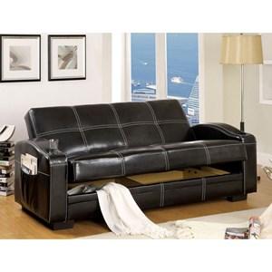 Leatherette Futon Sofa with Storage
