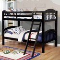 Furniture of America Coney Island Twin over Twin Bunk Bed - Item Number: CM-BK524TT-BK