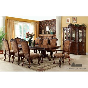 Furniture of America Cromwell Table + 2 Arm Chairs + 6 Side Chairs