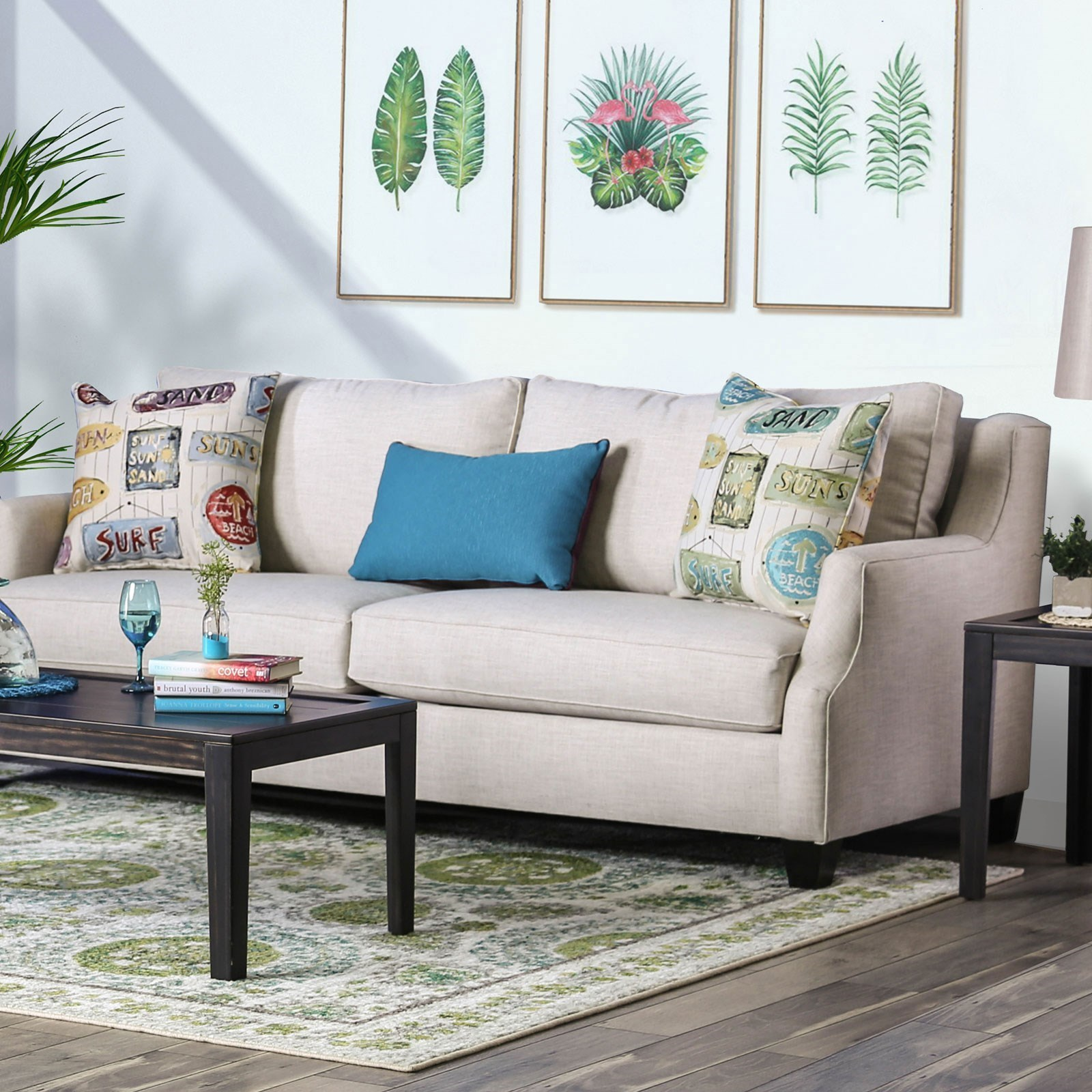 Dasia Contemporary Sofa with Exposed Wood Legs by Furniture of America at  Rooms for Less