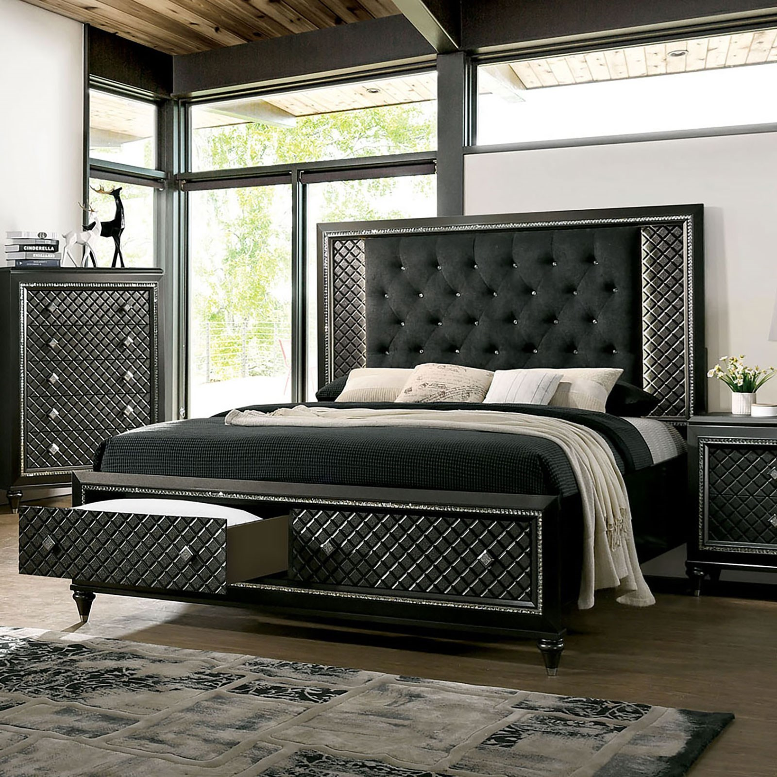 Furniture Of America Demetria Contemporary Queen Upholstered Storage Bed With Led Light Trim Headboard Dream Home Interiors Upholstered Beds