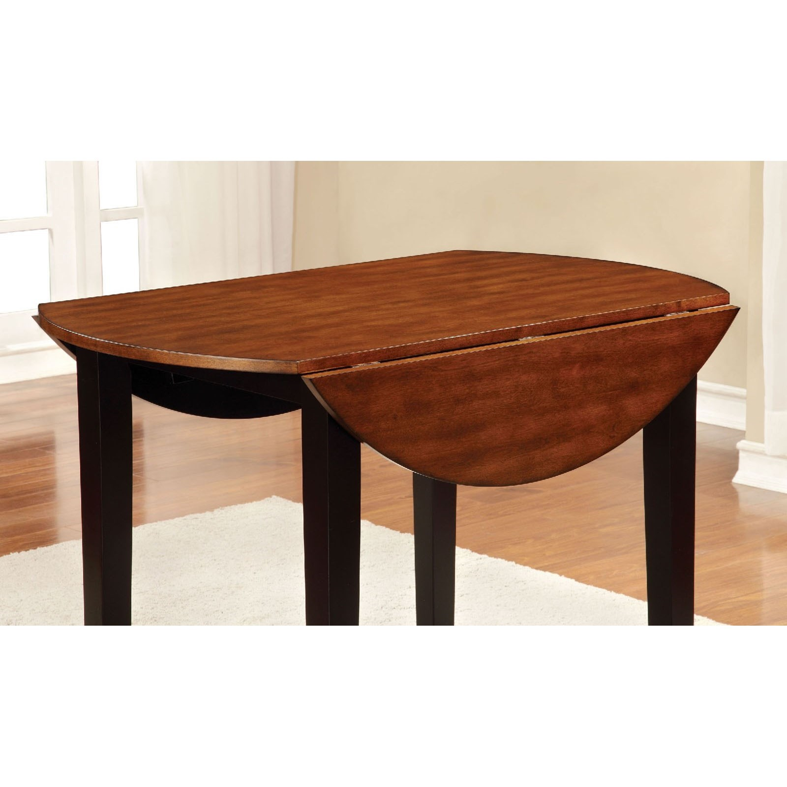 Furniture Of America Dover Transitional Round Dining Table W/ Drop Leaf