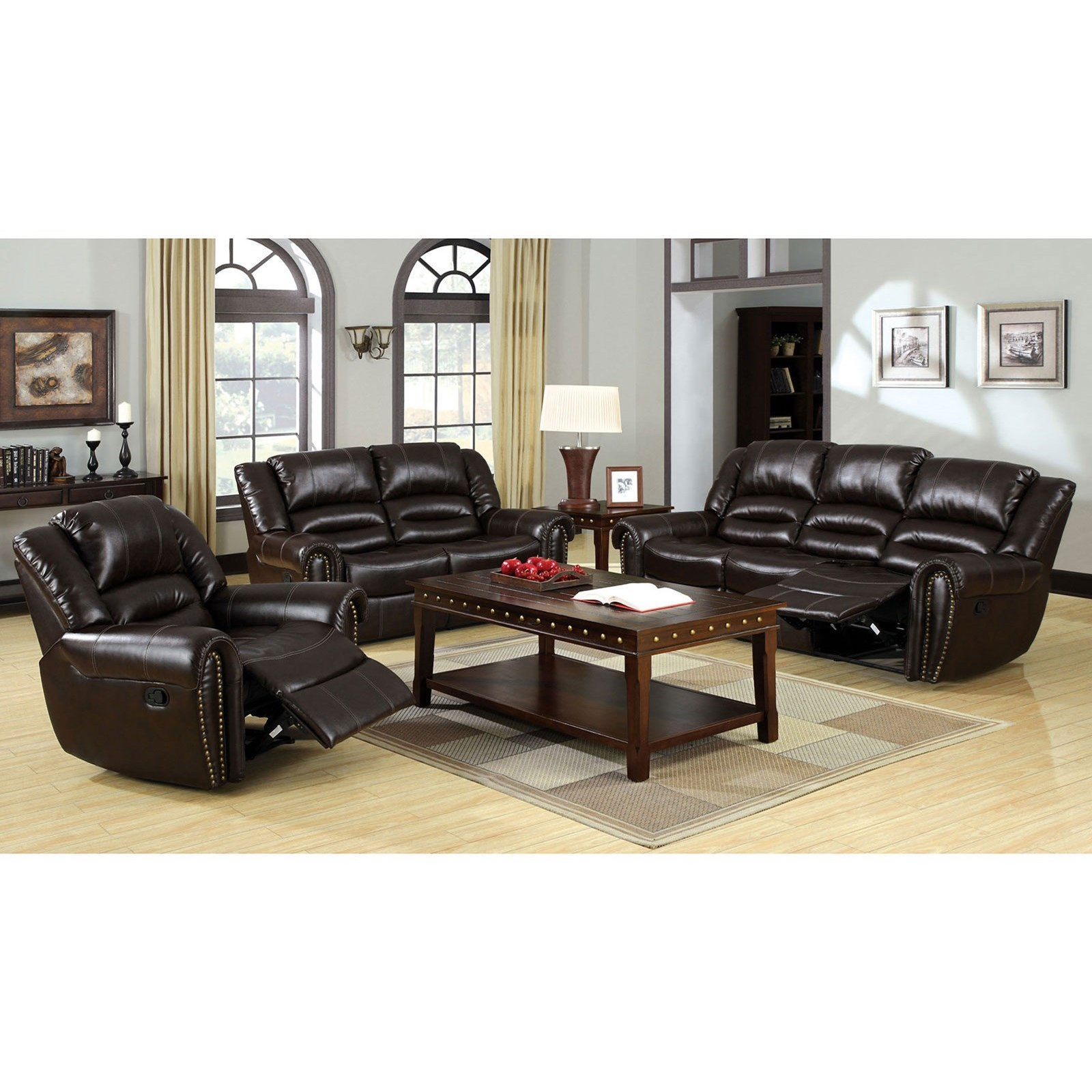 Furniture of America Dundee 3 Piece Reclining Living Room Set ...
