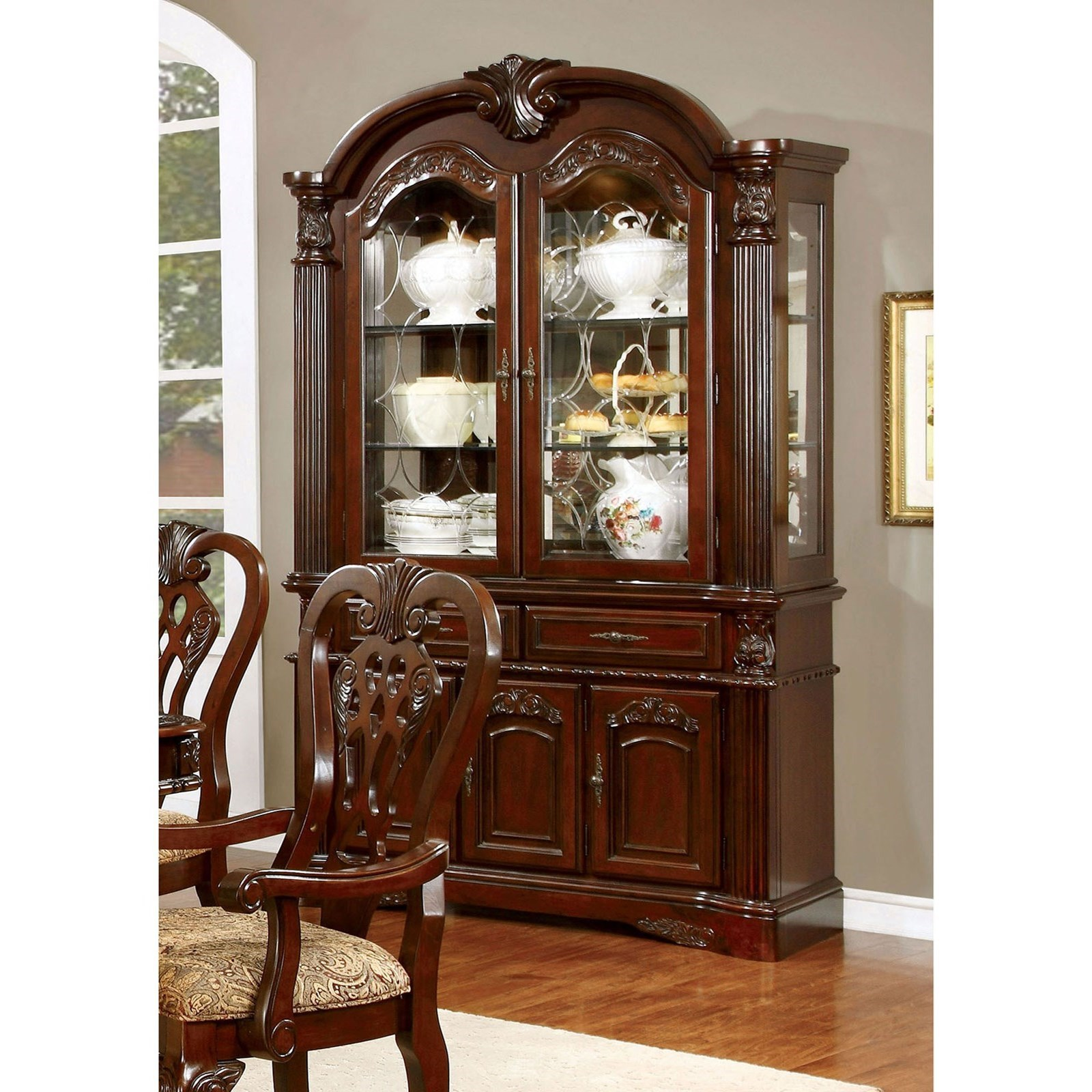 Furniture Of America Elana Traditional Hutch And Buffet Combination