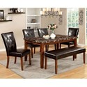 Furniture of America Elmore Table + 4 Side Chairs + Bench - Item Number: CM3328T-6PC