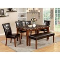 Furniture of America Elmore Table + 4 Side Chairs + Bench