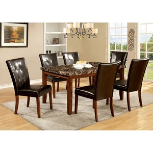 Furniture of America Elmore Table + 6 Side Chairs