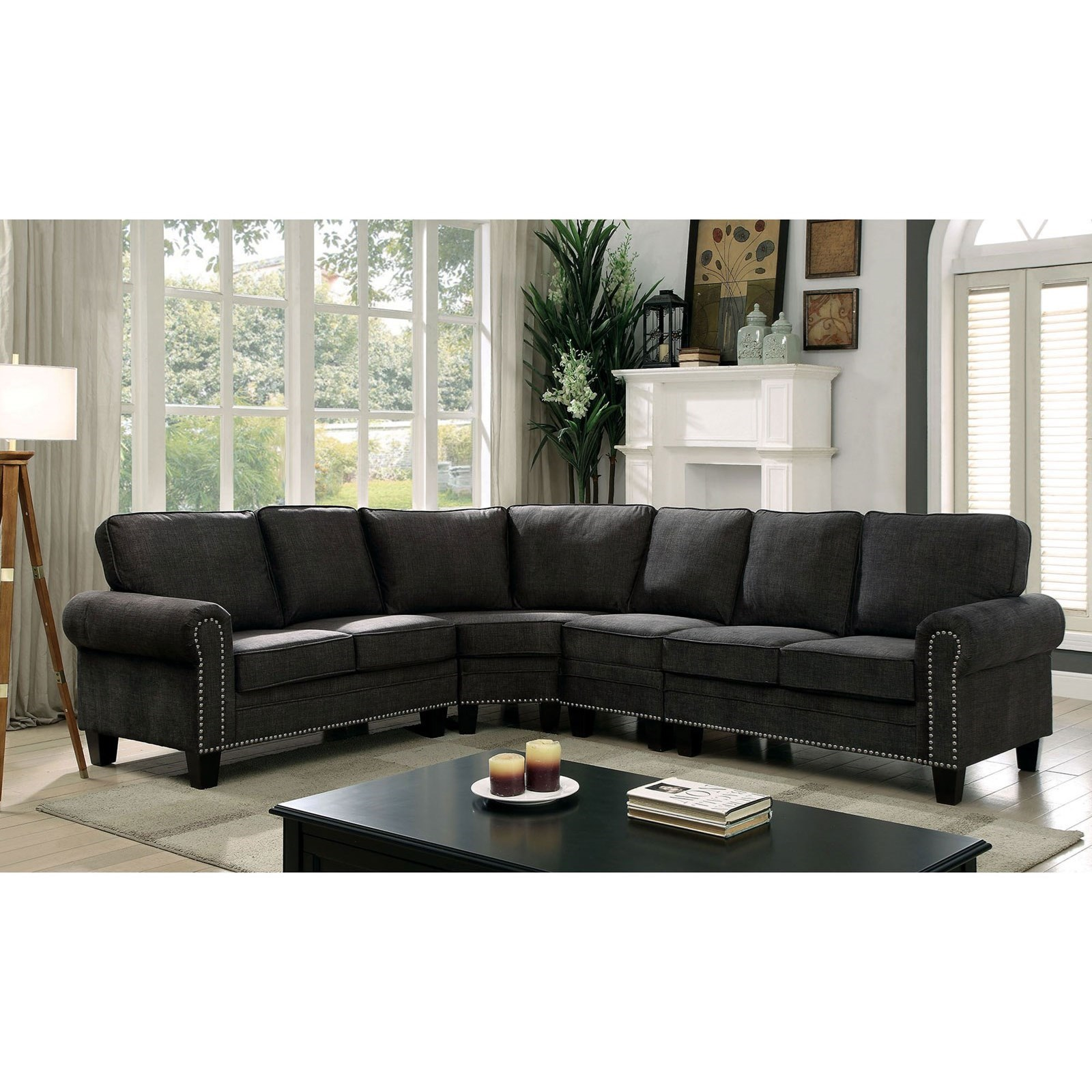 Stupendous Elwick Transitional Five Seat Sectional Sofa With Nailheads By Furniture Of America At Rooms For Less Creativecarmelina Interior Chair Design Creativecarmelinacom