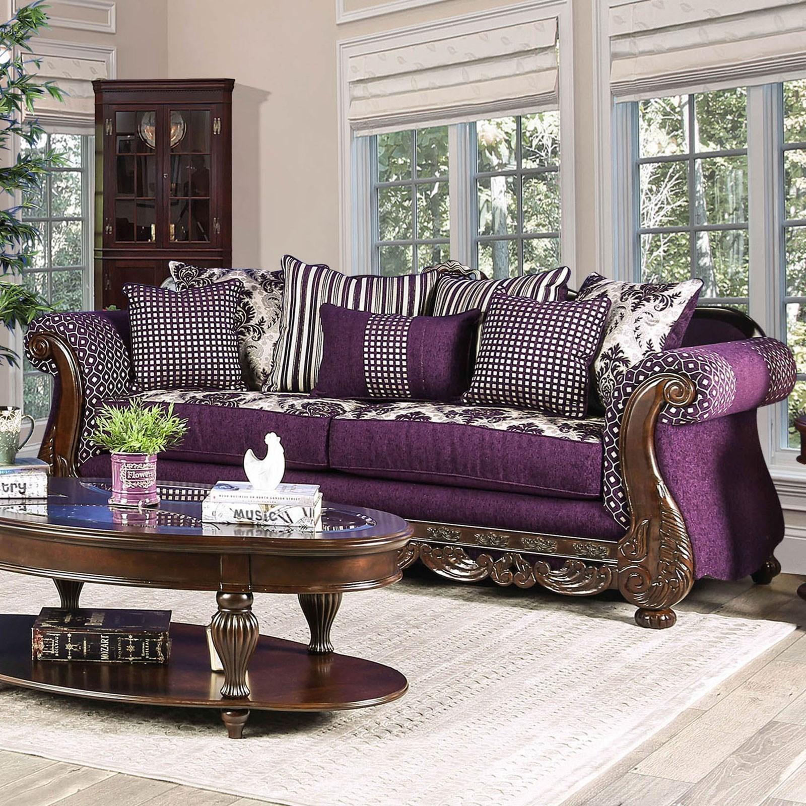 Furniture Of America Emilia Traditional Sofa With Ornate Wood Trim