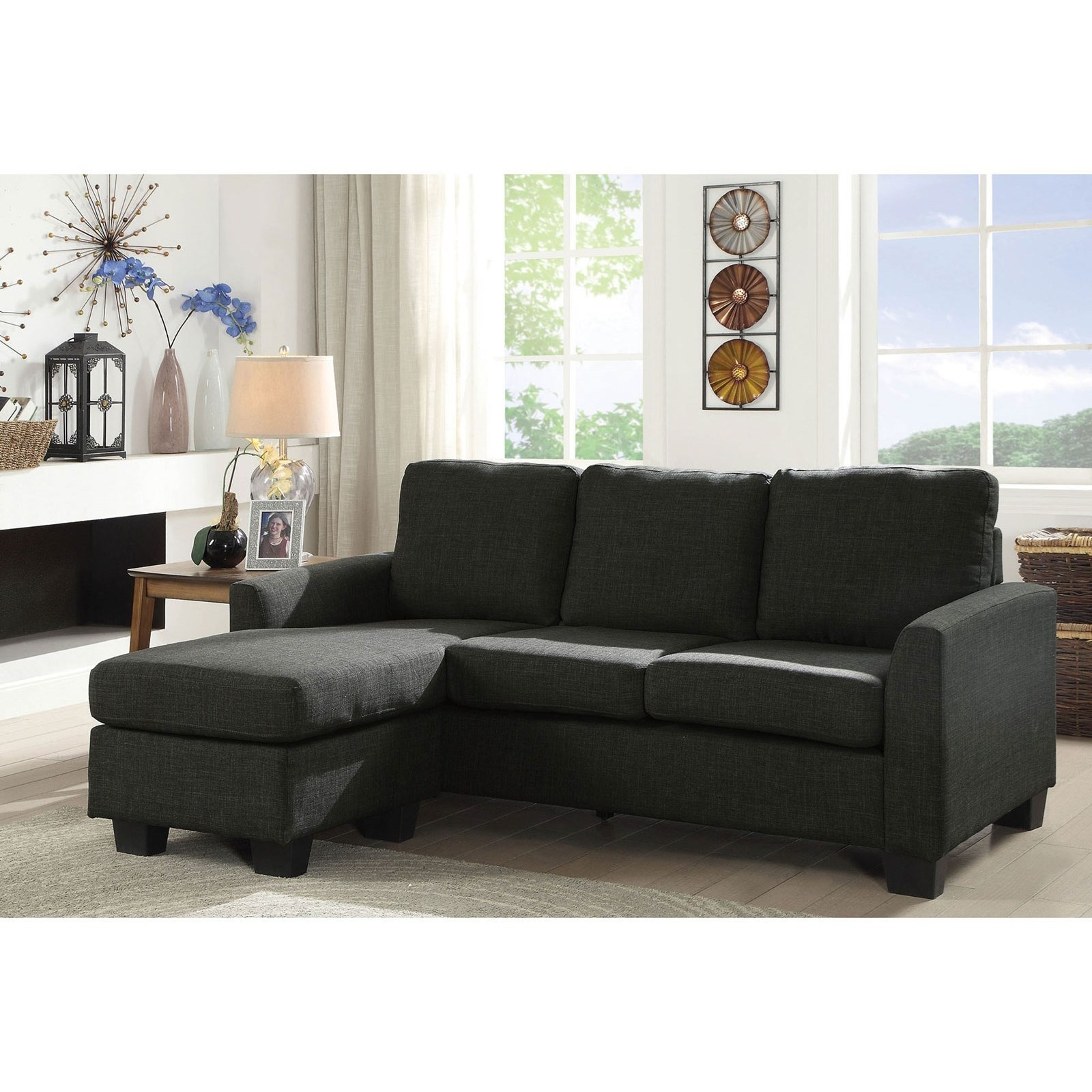 Furniture of America Erin Contemporary Sectional Sofa with Chaise ...