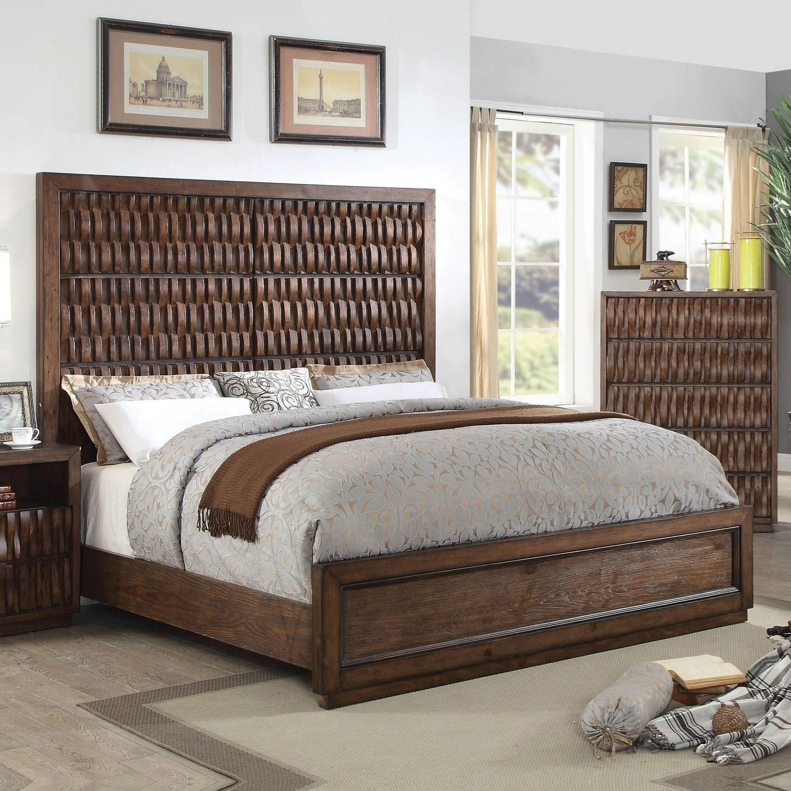 Furniture Of America Eutropia Cm7394q Bed Queen Size Wood Basketweave Bed With Wicker Look Corner Furniture Platform Beds Low Profile Beds