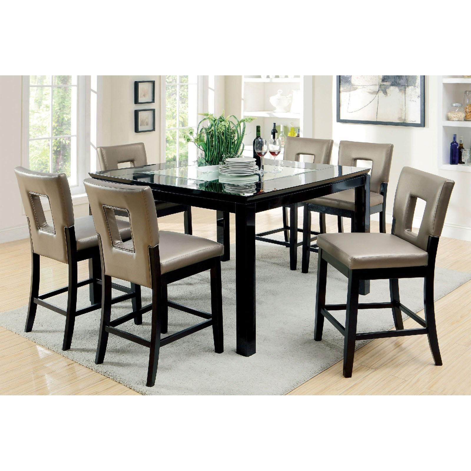 Counter Height Table Set with Six Chairs