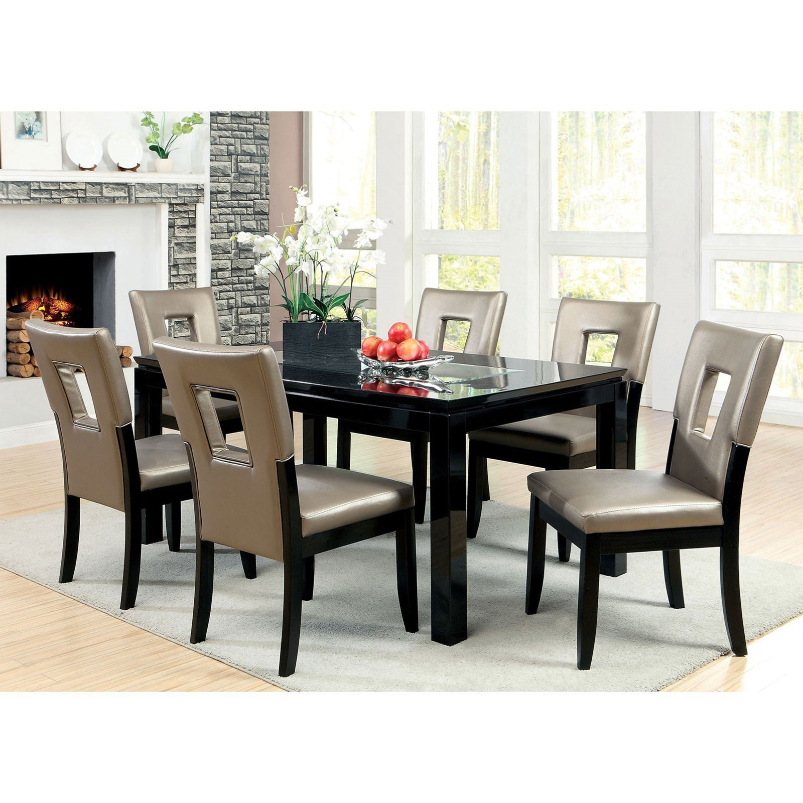 best sneakers 28fc1 aaf3f Evant I Contemporary Dining Table Set with Six Chairs by Furniture of  America at Rooms for Less