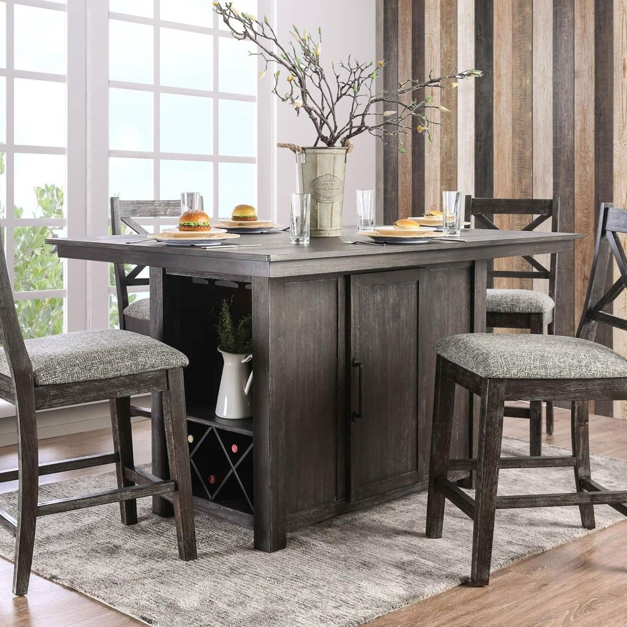 Furniture Of America Faulkton Counter Height Table With Wine Bottle
