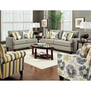 Furniture of America Fitzgerald Sofa and Love Seat