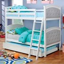 Furniture of America Freda Twin over Twin Bunk Bed - Item Number: CM-BK715WH+TR452-WH