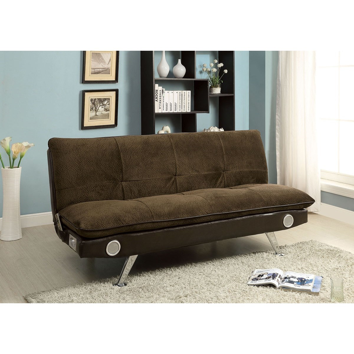 Gallagher Futon Sofa with Bluetooth Speaker by Furniture of America at  Rooms for Less