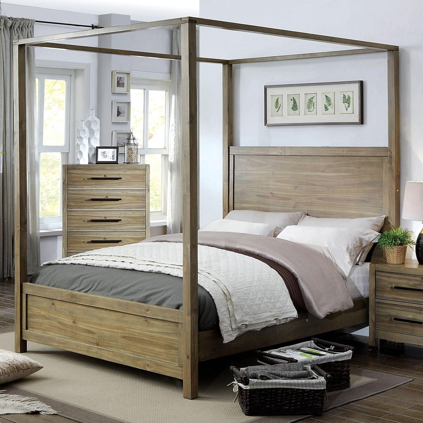 Picture of: Furniture Of America Foa Garland Cm7355ek Bed Vintage King Size Weathered Oak Canopy Bed Del Sol Furniture Canopy Beds