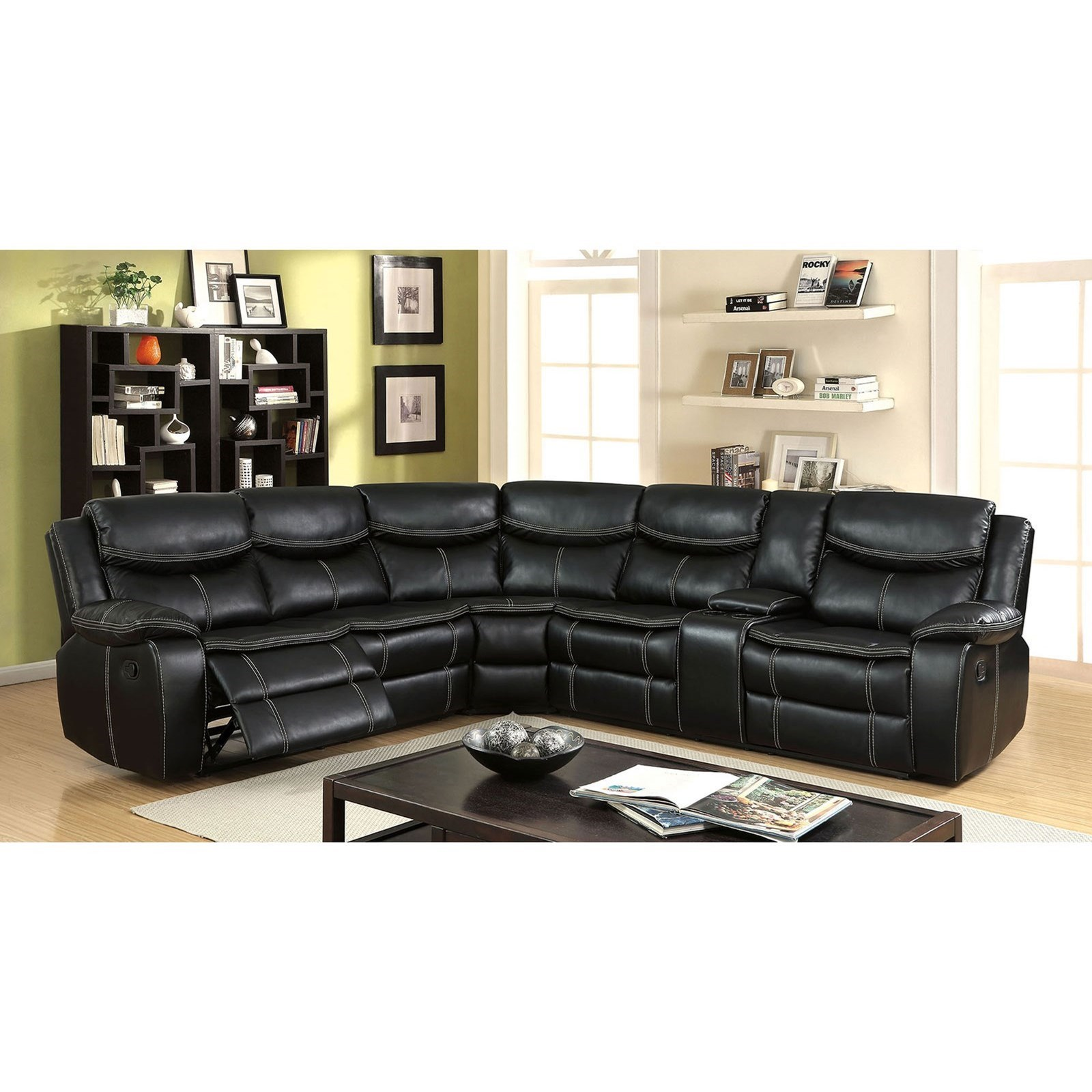 B751 Transitional Reclining Sectional With Storage Console: America Gatria II CM6982-SECTIONAL Casual Reclining 4 Seat