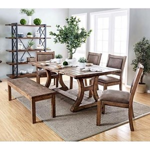 Table, 4 Chairs, and Bench