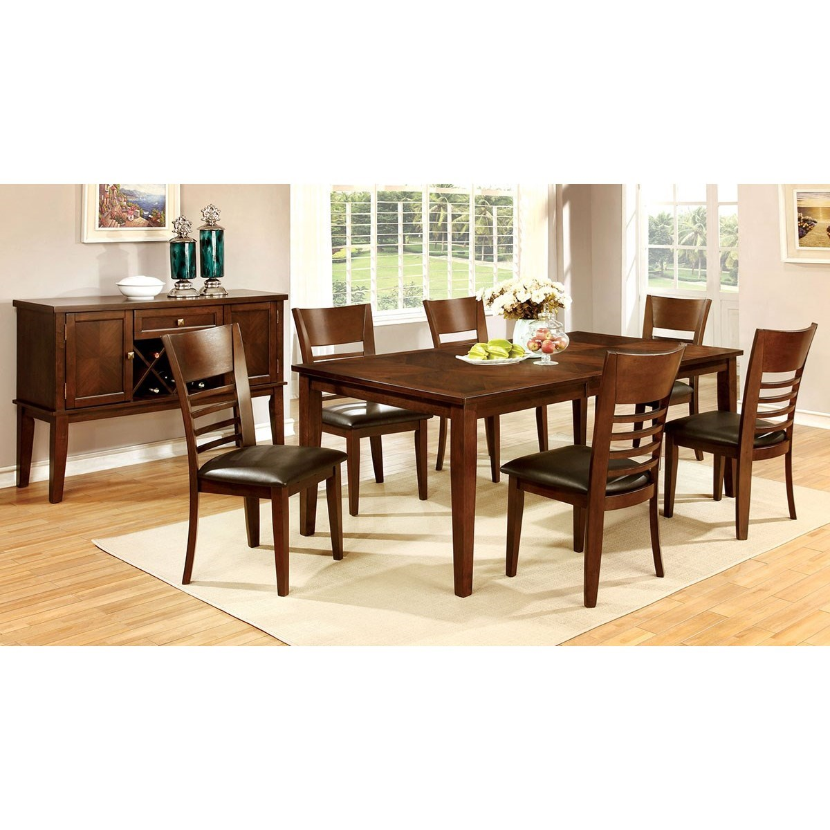 Levitz Home Furnishings: Furniture Of America Hillsview CM3916T-78-7PC Dining Table