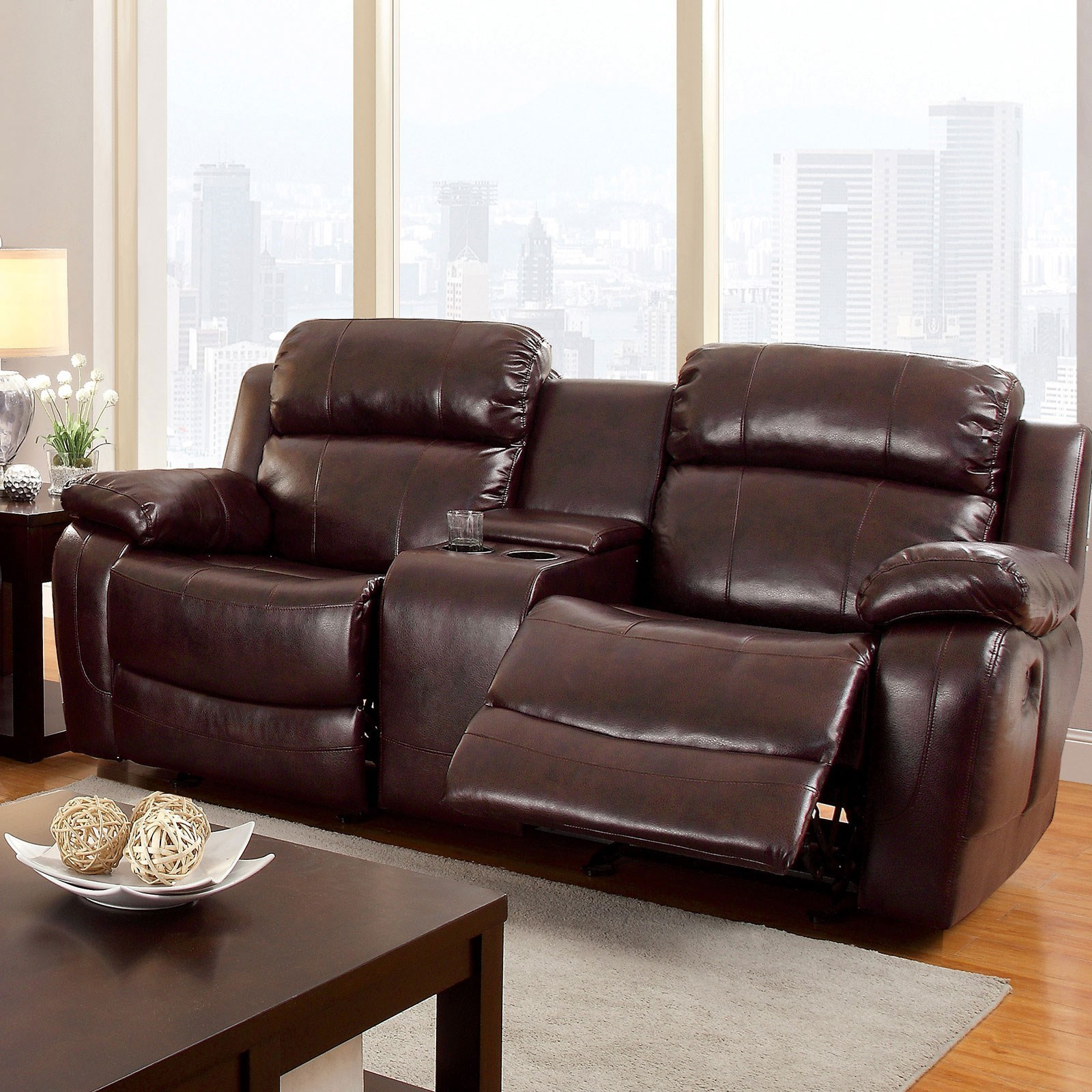 Super Hughes Reclining Loveseat With Center Console By Furniture Of America At Dream Home Interiors Caraccident5 Cool Chair Designs And Ideas Caraccident5Info