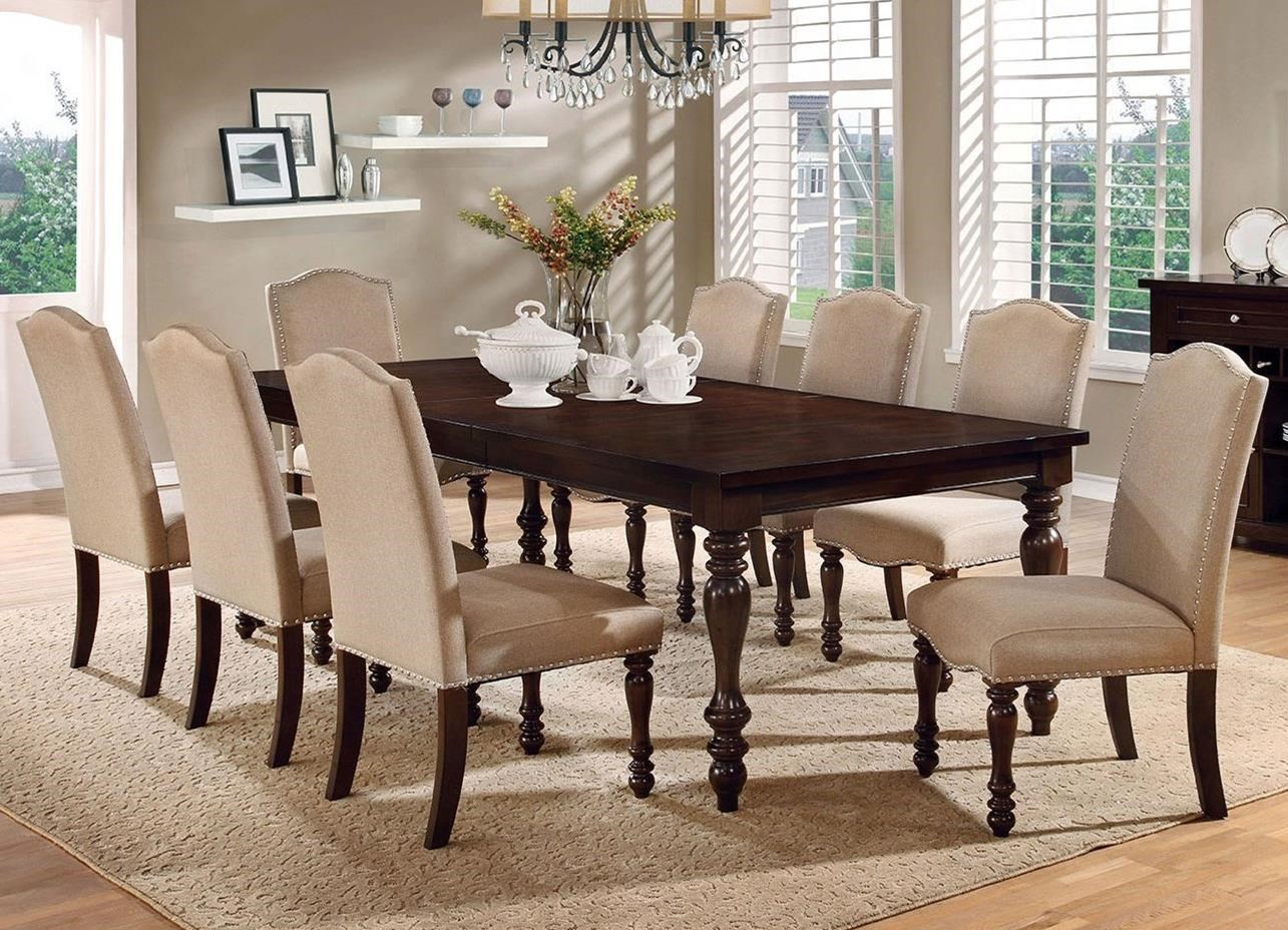 Furniture of america hurdsfield transitional dining table with 8 upholstered side chairs