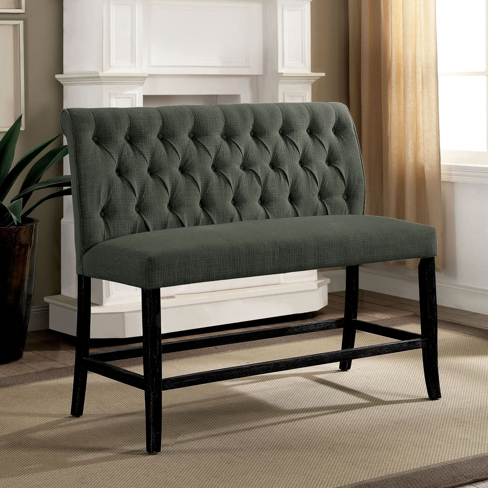 Furniture Of America Izzy Transitional Counter Height Upholstered Bench With Tufted Back Dream Home Interiors Upholstered Benches