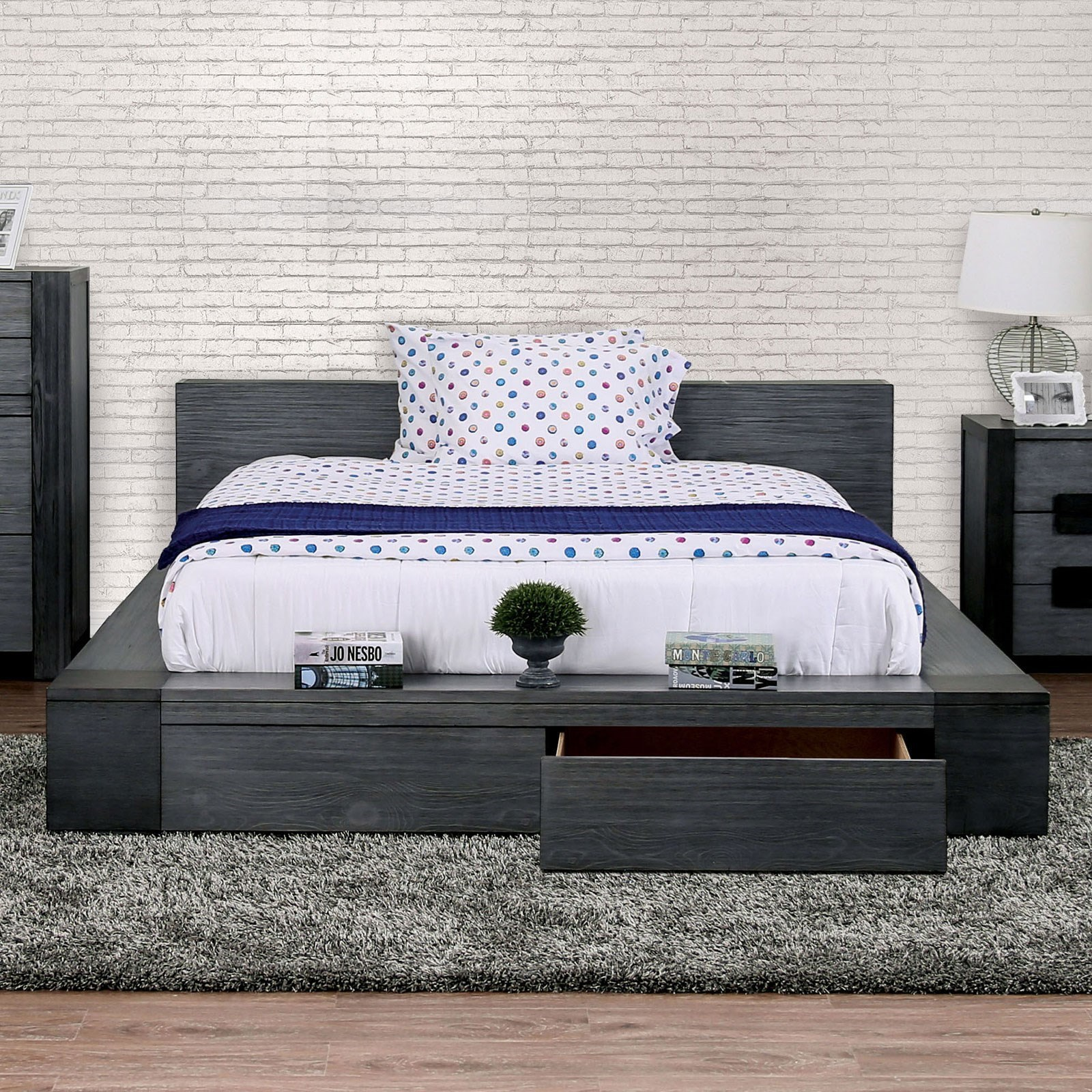 Furniture Of America Foa Janeiro Cm7629gy Ek Bed Rustic King Platform Bed With Storage Del Sol Furniture Platform Beds Low Profile Beds