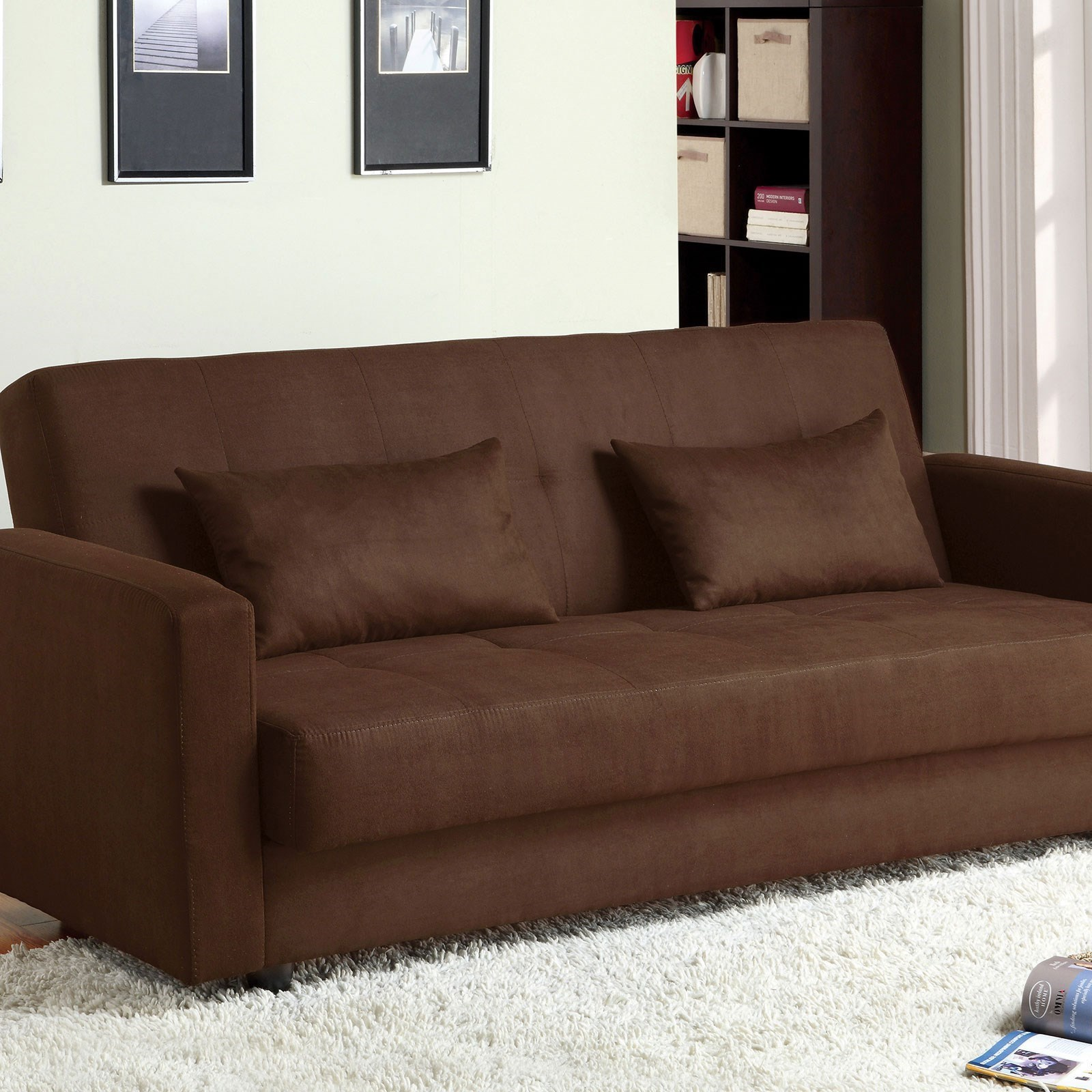 Furniture Of America Jansen Microfiber Futon Sofa With Storage Dream Home Interiors Futons