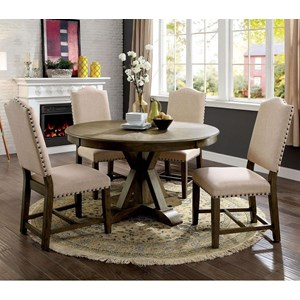Round Table + 4 Side Chairs
