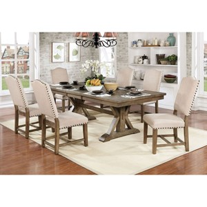 Rect Table + 6 Side Chairs