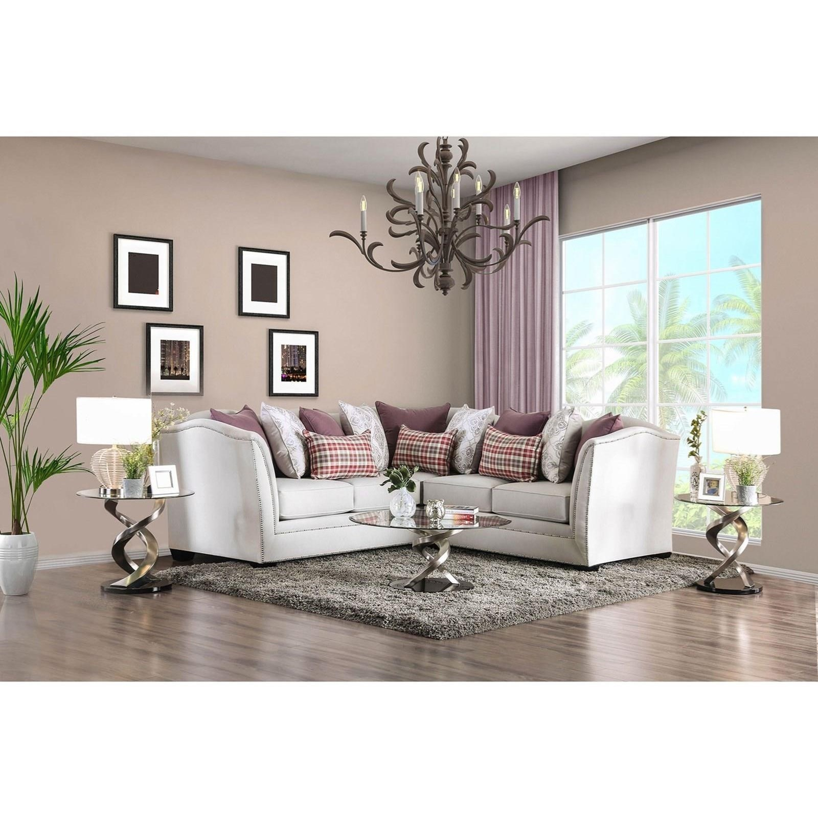Furniture of America Kizzy Transitional Sectional Sofa with Nailhead ...