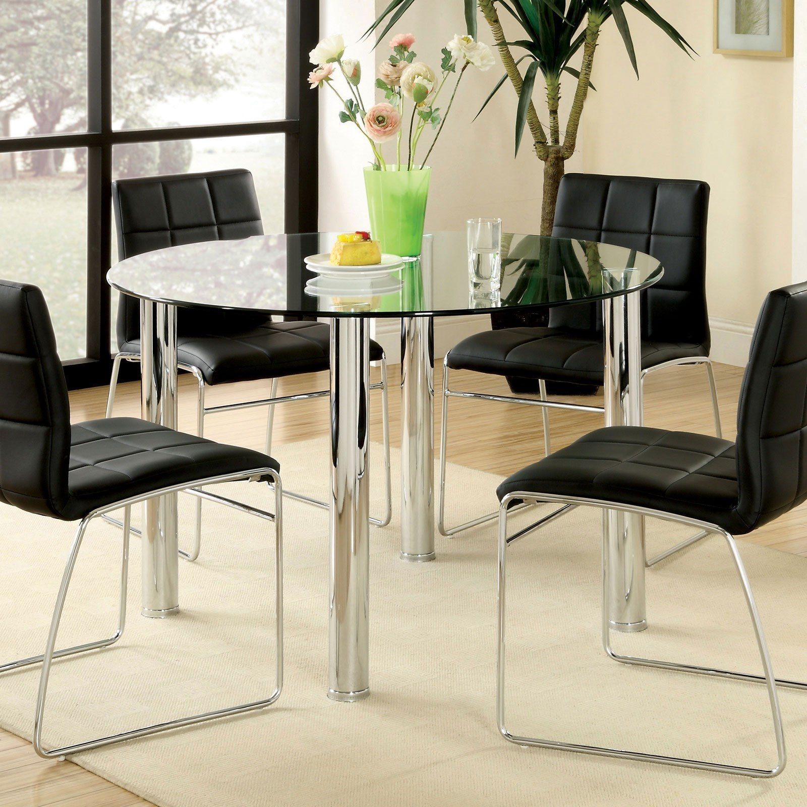 Furniture Of America Kona Contemporary Glass Top Round Dining Table Dream Home Interiors Dining Tables