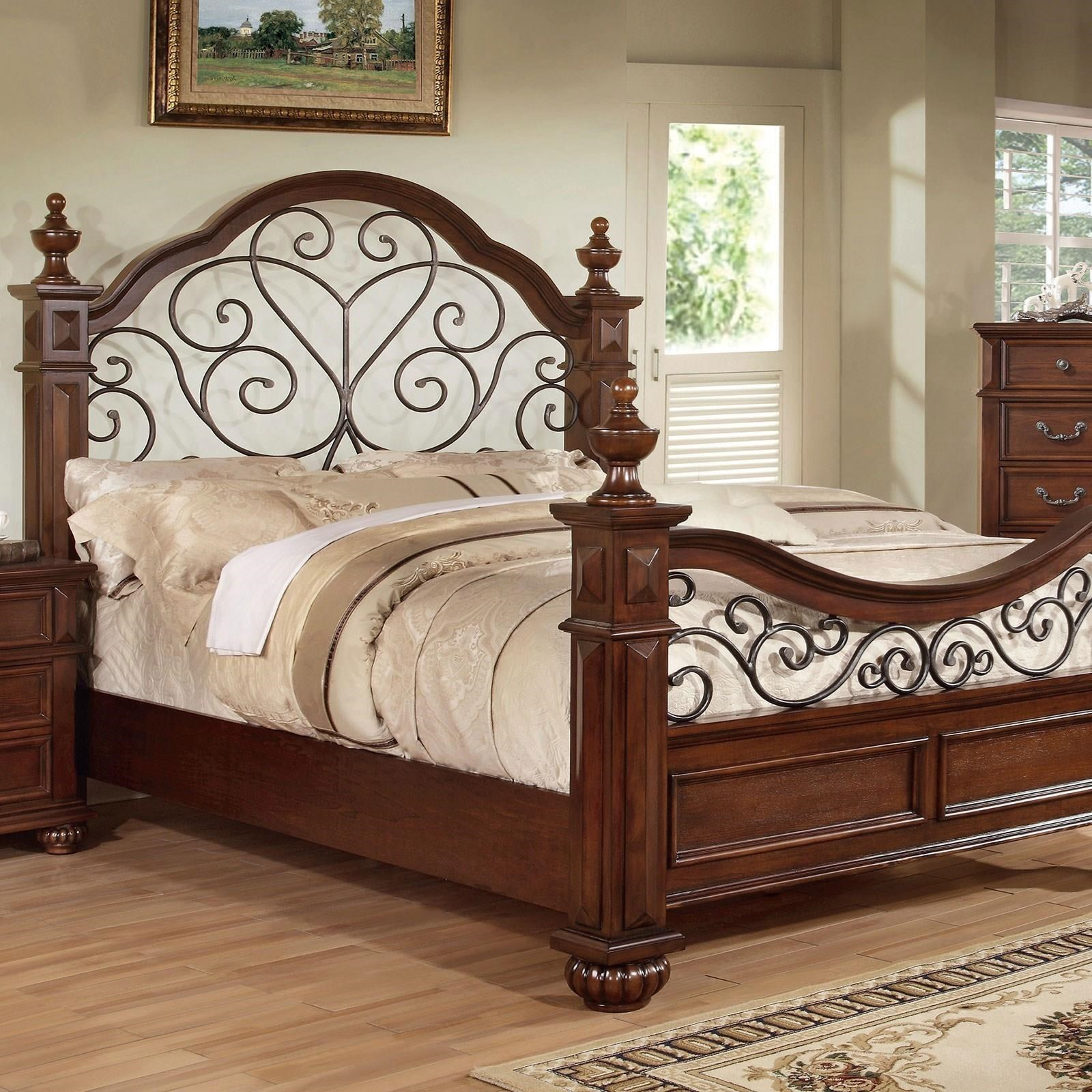 Furniture Of America Foa Landaluce Cm7811ck Bed Traditional California King Wrought Iron Poster Bed Del Sol Furniture Poster Beds