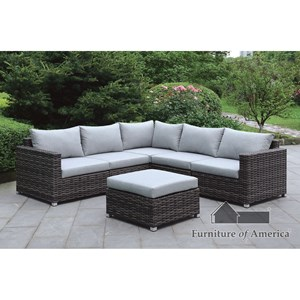 Furniture of America Lavana Patio Sectional w/ Ottoman