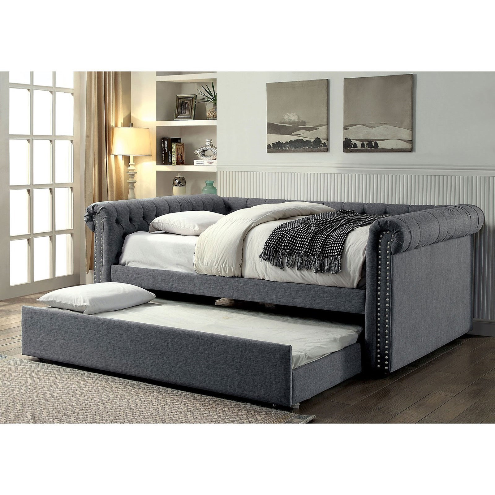 Furniture Of America Leanna Cm1027gy F Bed Transitional Tufted Full Size Daybed With Trundle Corner Furniture Daybeds