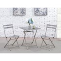 Furniture of America Lilah Stainless Folding Table and Chair Set - Item Number: CM3506T+SC