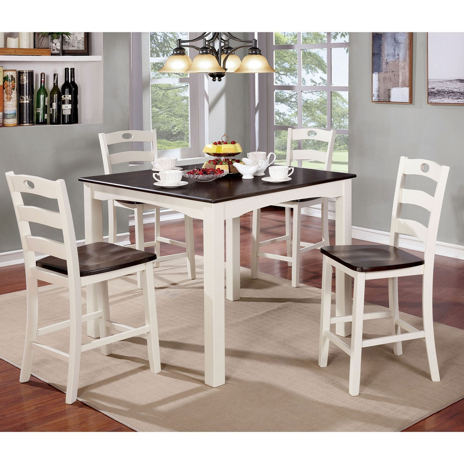Furniture Of America Liliana Vintage 5 Piece Counter Height Dining