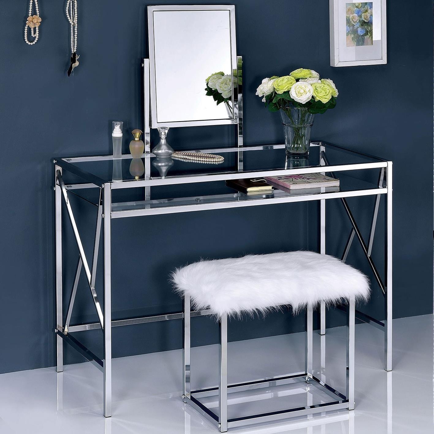 Furniture Of America Foa Lismore Cm Dk6707crm Glam Makeup Vanity Table With Glass Top And Faux Fur Stool Del Sol Furniture Vanities Vanity Sets