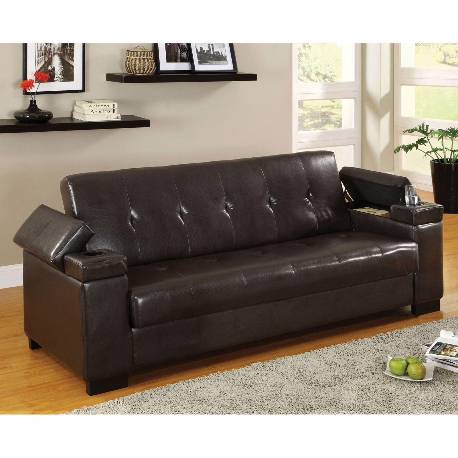 Logan Leatherette Futon Sofa With Storage By Furniture Of America At Rooms For Less